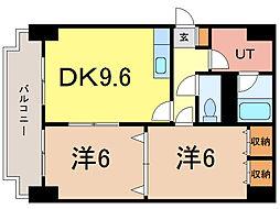 ディアー1条[3階]の間取り