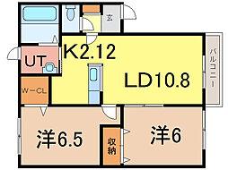 レオーネ東光 B棟[1階]の間取り