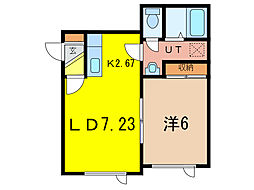 TREASURE HOUSE 1階1DKの間取り
