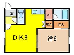 10.13コーポB棟[1階]の間取り