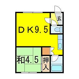 樋口マンションE[1階]の間取り