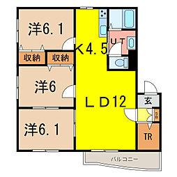 ルミエール東光 2階3LDKの間取り