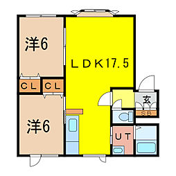 Kヴィレッジ1st 1階2LDKの間取り