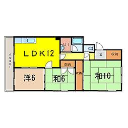 石川マンション 2階3LDKの間取り