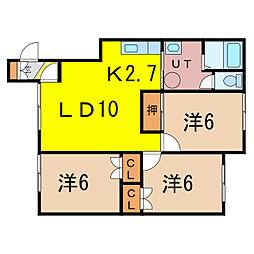 リバーサイド217 2階3LDKの間取り