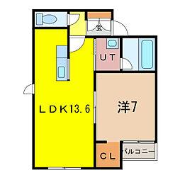 パンプキンI 3階1LDKの間取り