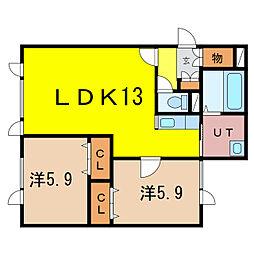 新築)豊岡5-1C棟 2階2LDKの間取り