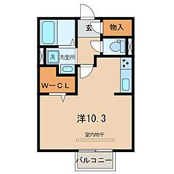 名鉄西尾線 福地駅 徒歩6分の賃貸アパート 2階ワンルームの間取り