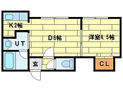 サークルI澄川(B)[3階]の間取り