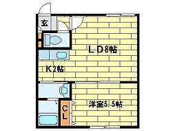 CENTRAL西岡[2階]の間取り