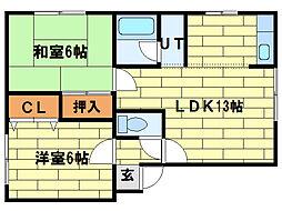 永野ハイツ3[2階]の間取り