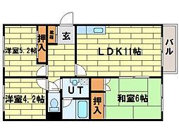 シャトー富士[3階]の間取り