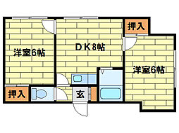 H・Sハイツ[3階]の間取り