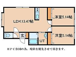 UKハウス(梅津AP)[1階]の間取り