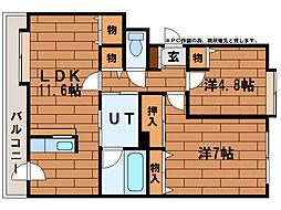 ドミ中の沢中央[3階]の間取り