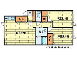 ドリーバーデン澄川[1階]の間取り