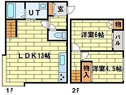 [テラスハウス] 北海道札幌市南区中ノ沢7丁目 の賃貸【/】の間取り