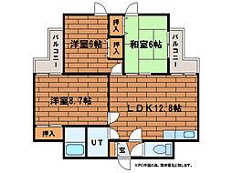 ローヤルハイツ南38条[3階]の間取り