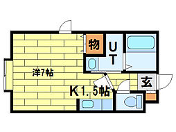 シェリール澄川 2階1Kの間取り