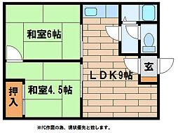 池マンションB[2階]の間取り