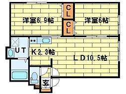ルミエール澄川南[1階]の間取り