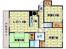 サンライト西岡II[1階]の間取り