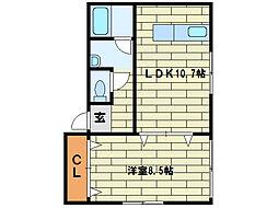 ランドマーク平岸B棟[1階]の間取り