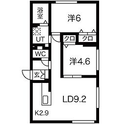 エル澄川 4階2LDKの間取り