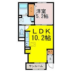 葛梅2丁目アパート 1階1LDKの間取り