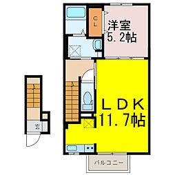 葛梅2丁目アパート 2階1LDKの間取り
