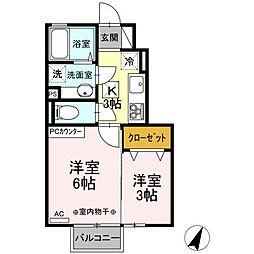 JR東北本線 古河駅 15kmの賃貸アパート 1階2Kの間取り