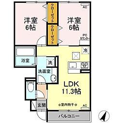 JR東北本線 古河駅 15kmの賃貸アパート 1階2LDKの間取り