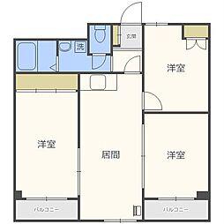 北海道札幌市中央区南十六条西8丁目の賃貸マンションの間取り