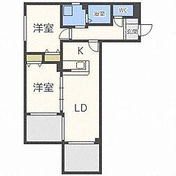 北海道札幌市中央区南十七条西14丁目の賃貸マンションの間取り