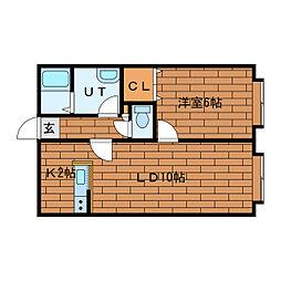 サンライズ伏見[2階]の間取り