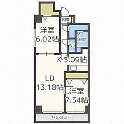 スクエアマンション6.14[7階]の間取り
