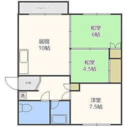 北海道札幌市中央区南十三条西10丁目の賃貸マンションの間取り