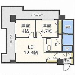 UURコート札幌北三条 10階2LDKの間取り