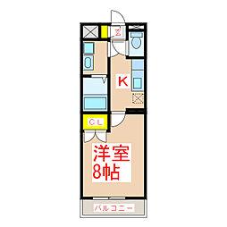 ST21 1階1Kの間取り