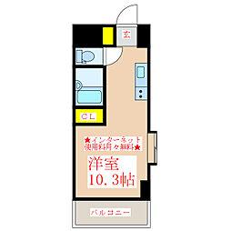 グリンビュー武 2階ワンルームの間取り