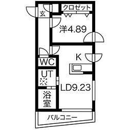 AMS海宝楼 1階1LDKの間取り