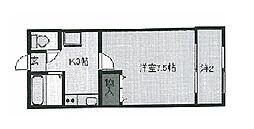 MビレッジII 1階1Kの間取り
