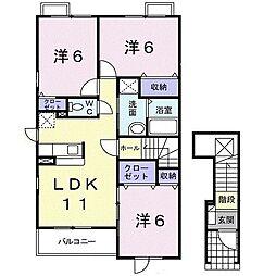 メゾンクレール弐番館 2階3LDKの間取り