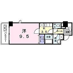 アヴァンティ サカエ 7階1Kの間取り