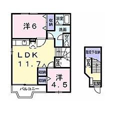 セイバリーコートI 2階2LDKの間取り
