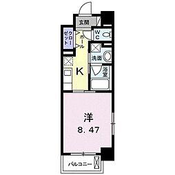 クラール花ノ宮 8階1Kの間取り