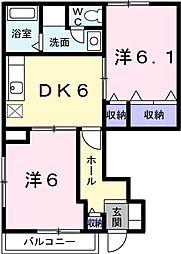 リバーサイドハウスH&N−A 1階2DKの間取り