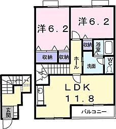 リバーサイドハウスH&N−A 2階2LDKの間取り