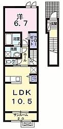 エスポワール桧 I 2階1LDKの間取り