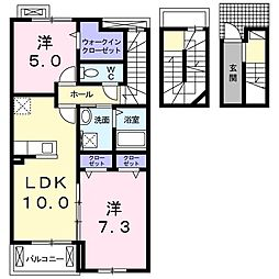 グランツ (額田部北町) 3階2LDKの間取り